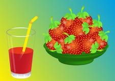 Jordgubbefruktsaft Fotografering för Bildbyråer