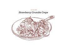 Jordgubbeglasskräpp med smulpajserve i panna akvareller för drawhandpapper Royaltyfri Fotografi