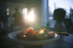 Jordgubbesol-signalljus Royaltyfria Foton