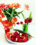 Jordgubbestilleben på på den vita plattan, med sund mat för orkidéblomma, sommar Berry Gardening arkivbilder