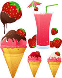 jordgubbetema stock illustrationer