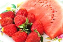 jordgubbevattenmelon royaltyfria foton