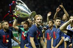 Jordi Alba , Adriano and Ivan Rakitic Juventus v FC Barcelona - UEFA Champions League Final Royalty Free Stock Photos