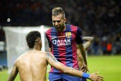 Jordi Alba and Neymar jr Juventus v FC Barcelona - UEFA Champions League Final Royalty Free Stock Photos