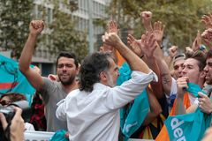 Jordi Cuixart during demostration for independence in Barcelona. Jordi Cuixart leader of Omnium cultural association, actually in jail, gestures during a massive Stock Image