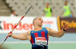 Jordi Sanchez of FC Barcelona. During Javelin Throw Event of Barcelona Athletics meeting at the Olympic Stadium on July 22, 2011 in Barcelona, Spain Royalty Free Stock Images