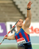 Jordi Sanchez of FC Barcelona. During Javelin Throw Event of Barcelona Athletics meeting at the Olympic Stadium on July 22, 2011 in Barcelona, Spain Stock Photography