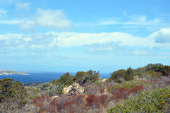 Jordiskt paradis i det medelhavs- Skärgård av Maddalena, Caprera ö Arkivbilder