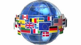 Jordjordklot med världsflaggor royaltyfri illustrationer