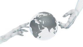 Jordjordklot och händer Arkivfoton