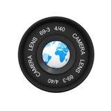 Jordjordklot på tappningkamerafotoet Lens framförande 3d vektor illustrationer