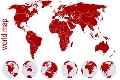 jordjordklot planerar den röda världen stock illustrationer