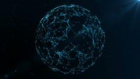 Jordjordklot som roterar med plexusen Globala digitala anslutningar Knyta kontakt och utbytet av data på planetjorden royaltyfri illustrationer