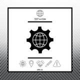 Jordklot av jorden inom ett kugghjul eller en kugge som ställer in parametrar, global alternativsymbol Arkivfoto