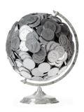 Jordklot av silverdollar på en isolerad vit backg Royaltyfri Bild