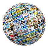 Jordklot boll med olika bilder av folk, natur, objekt, ställen arkivbilder
