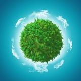 jordklot 3D med ormbunken och gräs Fotografering för Bildbyråer