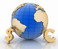 jordklot 3d med symboler för guld- valuta på vit Royaltyfri Foto