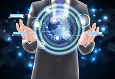 Jordklot för begrepp för världsteknologikommunikation Royaltyfri Bild