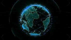 Jordklot f?r Digital jorddata - tolkningsatelliter f?r abstrakt begrepp 3D knyter kontakt runt om v?rlden en vetenskaplig teknolo stock illustrationer