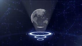 Jordklot f?r Digitala data - abstrakt illustration av en vetenskaplig teknologi Datan?tverk Omgeende planetjord p? tre vektor illustrationer