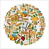 Jordklot för fastighetsymbolsuppsättning Arkivbilder