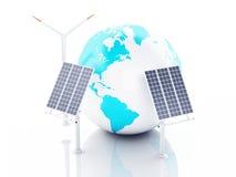 jordklot för jord 3d isolerad white för bakgrundsbegreppseco energi Arkivfoto