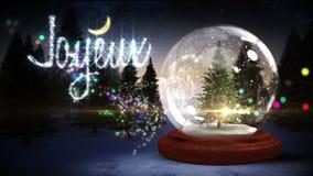 Jordklot för julgraninsidasnö med magisk hälsning i franskt stock video