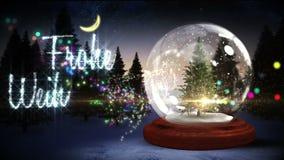 Jordklot för julgraninsidasnö med magisk hälsning i tysk lager videofilmer