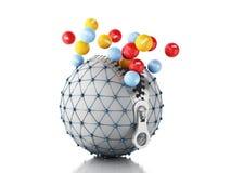 jordklot för nätverk 3d med blixtlåset Nätverkskommunikationsbegrepp Arkivfoto