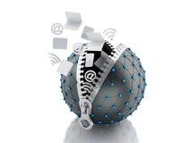 jordklot för nätverk 3d med blixtlåset Nätverkskommunikationsbegrepp Royaltyfria Bilder