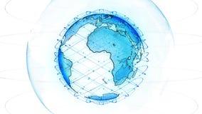 Jordklot f?r Digital jorddata - tolkningsatelliter f?r abstrakt begrepp 3D knyter kontakt runt om v?rlden en vetenskaplig teknolo royaltyfri illustrationer