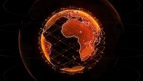 Jordklot f?r Digital jorddata - tolkningsatelliter f?r abstrakt begrepp 3D knyter kontakt runt om v?rlden en vetenskaplig teknolo vektor illustrationer