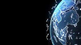 Jordklot f?r Digital jorddata - f?r tolkningsatelliter f?r abstrakt begrepp 3D starlink knyter kontakt anslutning v?rlden satelli stock illustrationer