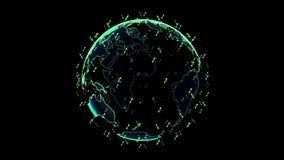 Jordklot f?r Digital jorddata - f?r tolkningsatelliter f?r abstrakt begrepp 3D starlink knyter kontakt anslutning v?rlden satelli royaltyfri illustrationer