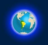 Jordklot i utrymme, sikter av Brasilien stock illustrationer