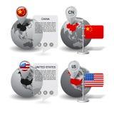 Jordklot med översiktsmarkören och statliga flaggor av Kina och det förenade tillståndet Arkivfoton