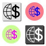 Jordklot med dollaren Plan vektorsymbol royaltyfri illustrationer