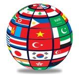 Jordklot med världsflaggor Royaltyfri Bild