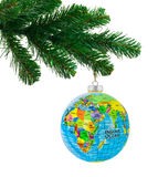 Jordklot- och jultree Royaltyfri Foto