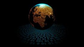 Jordklot på bakgrunden för digital teknologi, vektor omlopp för digitala data V?rldsn?tverksteknologi Teknologikommunikation vektor illustrationer