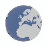 Jordklot på vit Arkivbilder