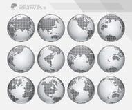 Jordklot som visar jord med alla kontinenter Prickig världsjordklotvektor royaltyfri illustrationer