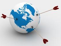 jordklotbild för pilar 3d Arkivfoto