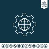Jordklotet av jorden inom ett kugghjul eller en kugge som ställer in parametrar, globala alternativ - fodra symbolen Arkivbilder