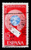 Jordklotet med flygkuvertet, uttrycker stolpen, serie, circa 1971 Arkivbild