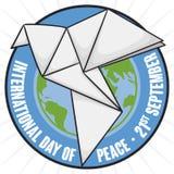 Jordklotinsidaknappen med origami dök för dag av fred, vektorillustration Stock Illustrationer