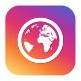 Jordklotjordsymbol med hipsterknappen Planetknapp Världssymbol Royaltyfria Bilder