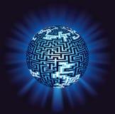 Jordklotlabyrint - labyrint med belysning Arkivbild