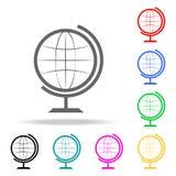 Jordklotsymbol Beståndsdelar av mång- kulöra symboler för skola och för studie Högvärdig kvalitets- symbol för grafisk design Enk royaltyfri illustrationer